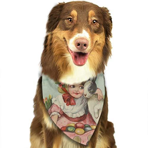 (ZZJIAK Dog Bandana Scarf Girl Hug Easter Bunny Rabbit Candy Eggs Tulip Triangle Bibs Printing Kerchief Set Accessories Dogs Cats)