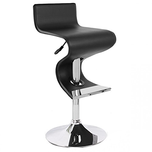 Neos Modern Furniture S958K-N S958K Modern Adjustable PU Leather Swivel Bar Stool Black ()