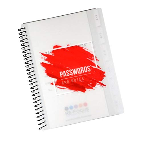 "Mini Spiral Password Book with Alphabetical Tabs and Removable Sheets. Small Password Keeper, Red - 5.5"" x 7"""