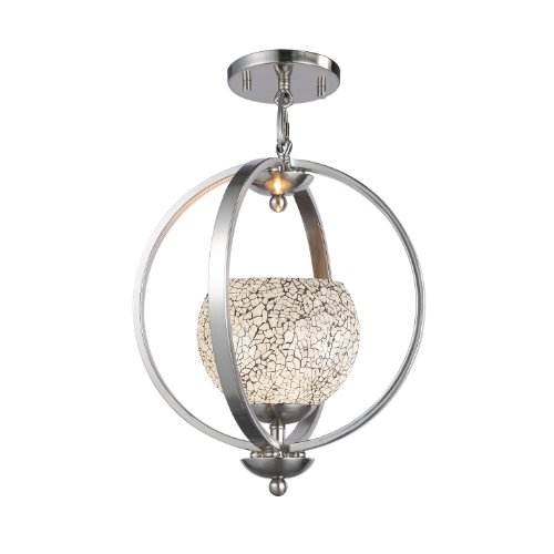 Woodbridge Lighting 13923STN-M00WHT Geo 1-Light Mid Pendant, Satin - Nickel Pendant Geo