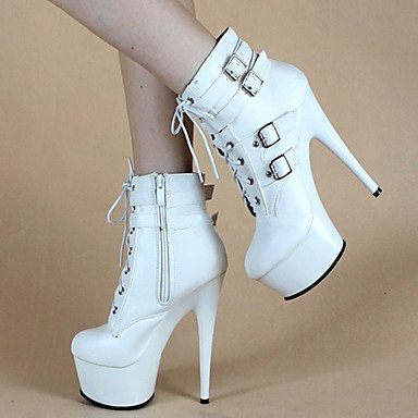 pwne Zapatos De Mujer Polipiel Otoño Invierno Plataforma Moda Vestir Botas Botas Stiletto Talón Hebilla Zipper Lace-Up Blanco Y Negro US9 / EU40 / UK7 / CN41