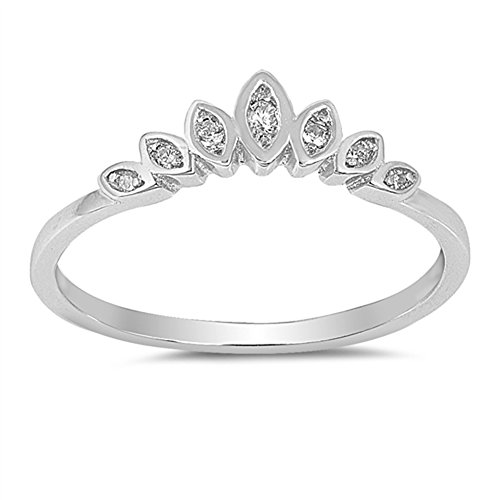 - Clear CZ Lotus Flower Tiara Ring .925 Sterling Silver Marquise Band Size 7