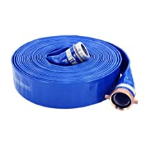 """Abbott Rubber PVC Discharge Hose Assembly, Blue, 2"""" Male X Female NPSM, 65 psi Max Pressure, 50' Length, 2"""" ID"""