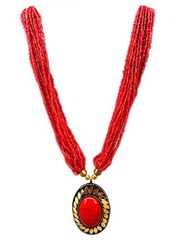 Designer Traditional Ethnic Handicraft Fashion Jewelry - Brass Pendant Necklace for Women (Red)
