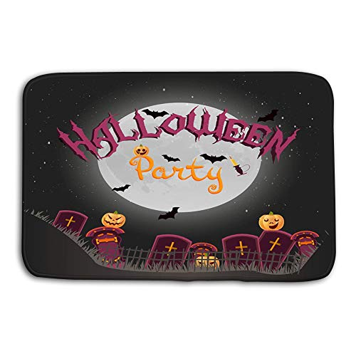 eiquISs Kitchen Floor Bath Entrance Door Mats Rug Halloween Vertical ES Night Pumpkins Candle Full Moon Flyer Template Happy Party Non Slip Bathroom Mats 23.6
