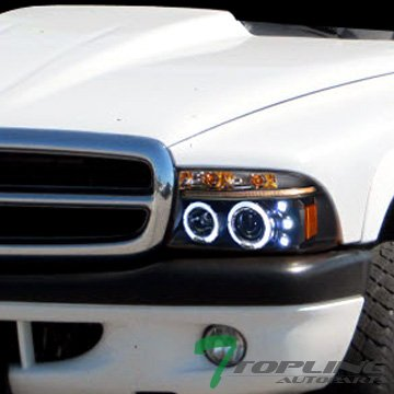 Topline Autopart Black Led Halo Rims Projector Head Lights Lamps Signal 97-04 Dakota 98-03 Durango