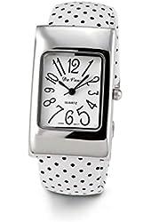Ladies White Black Silver Tone Bangle Bracelet Watch