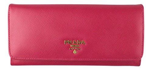 PRADA. Amaranth Pink Saffiano Textured Leather Continental Wallet