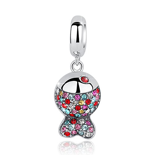 Fish Charm Pendant Jewelry (BAMOER 925 Sterling Silver Fish Charms Pendant with Sparkling Cubic Zirconia for Women Girls Cute Animal Jewelry)