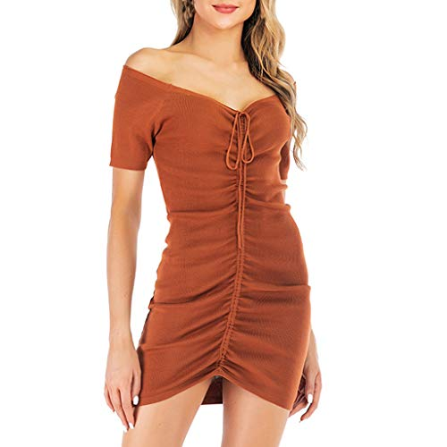 iHPH7 Dress Sexy Draped V-Neck Short Sleeve Mini A-Line Dress One Shoulder Cocktail Dress Women (L,Khaki)
