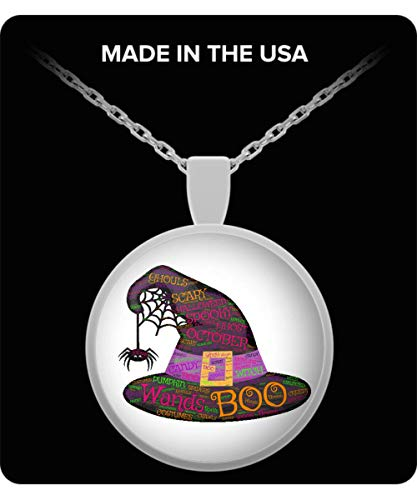 100 Hot Buys Boo Witches Hat Spider Web Happy Halloween Costume Necklace Jewelry ()