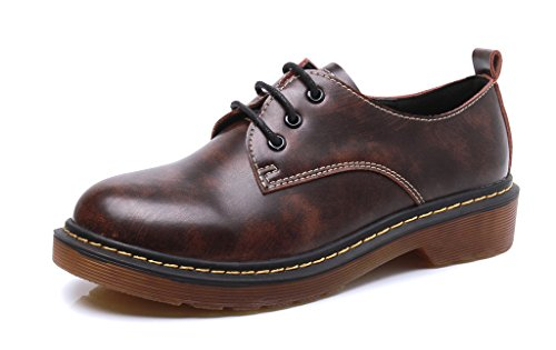 CAMSSOO Women's Classic Low Heel Flat Lace Up Oxford Brogues Wingtip Shoes 3Brown EkcjMMjRf