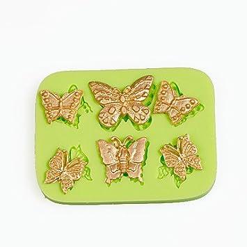 Erica 6 mariposas de filigrana molde de silicona para arcilla de polímero de Chocolate Candy Making Sugarcraft herramientas decoración de pasteles molde: ...