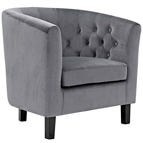 Modway Prospect Upholstered Contemporary Modern Armchair In Gray Velvet Contemporary Round Upholstered Chair