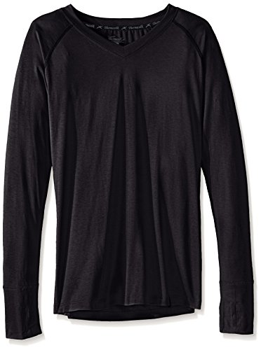 Terramar Thermasilk Spun Silk V neck Long Sleeve Tops, Charcoal Heather, X-Small - 2 Hut 4 3