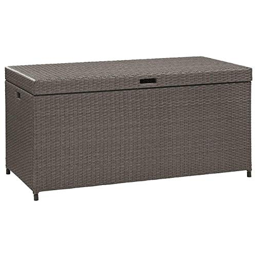 52 inches Patio Storage Container Deck Furniture Wicker Resin Outdoor Bin Organizer Grey with Ebook (Wicker Cheap Ebay Furniture)