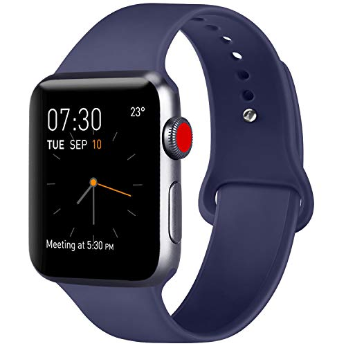 (ATUP Compatible with for Apple Watch Replacement Band 38mm 40mm 42mm 44mm Women Men, Soft Silicone Band Compatible with for iWatch Series 4, 3, 2, 1 (Navy Blue, 42mm/44mm-S/M) )