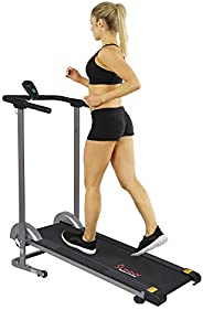 Sunny Health & Fitness SF-T1407M Foldable Compact Manual Treadmill with LCD Mon