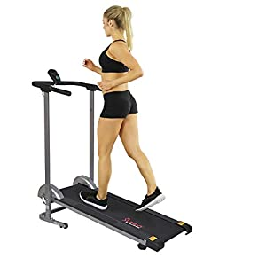 Sunny Health & Fitness SF-T1407M Manual Walking Treadmill with LCD Display, Compact Folding, Portability Wheels and 220…