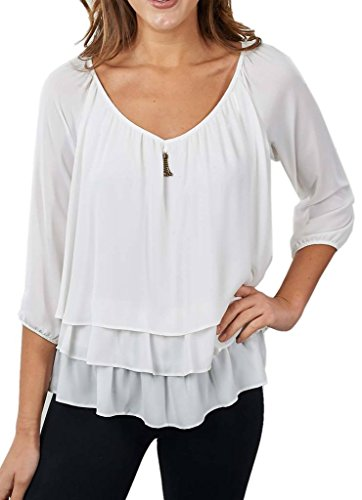 Joseph Ribkoff Off-White Layered Blouse with Golden Accent Style 171292 - Size 8 by Joseph Ribkoff