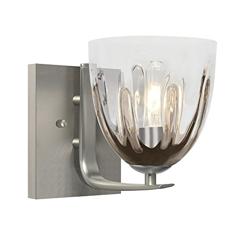 Besa Lighting 1WC-PHAN6SC-SN Phantom 6 1 Light 6 inch Satin Nickel Vanity Wall Light (Satin Nickel Flat Wall Lamp)