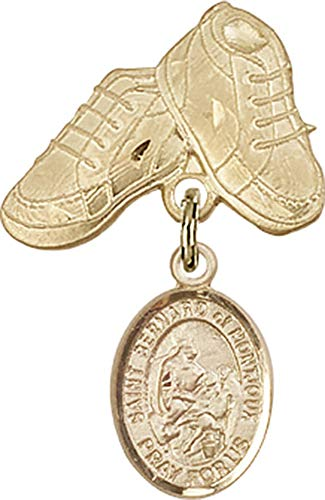 14kt Gold Filled Baby Badge with St. Bernard of Montjoux Charm and Baby Boots Pin St. Bernard of Montjoux is the Patron Saint of Skiers/Mountain Climbers 1 X 5/8 -