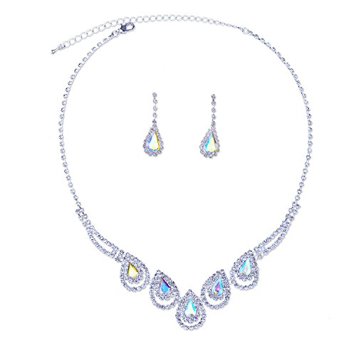 Topwholesalejewel Silver Crystal Rhinestone Aurora Borealis Teardrop Necklace Dangle Earrings Jewelry Set