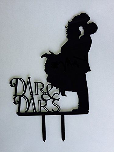 (Mr. & Mrs. Kissing Couple Silhouette Acrylic Wedding Cake Topper)