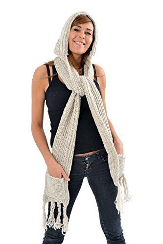 - Capuche Echarpe moufle pure laine douce Le 3 en 1 -