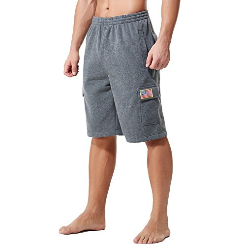 KingPlusSports Men's Plus Size Cotton Loose Big and Tall Waist Cargo Shorts Charcoal 2XL -
