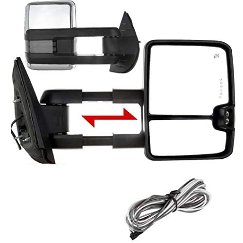 2 PCs of Premium Towing Mirrors for 99-02 Chevy Silverado Suburban Avalanche Tahoe GMC Sierra Yukon - Power Adjustment + Heated + Turn Signal + Backup Lamp + Dual Glass (Chrome & Smoke LED Signal) free shipping