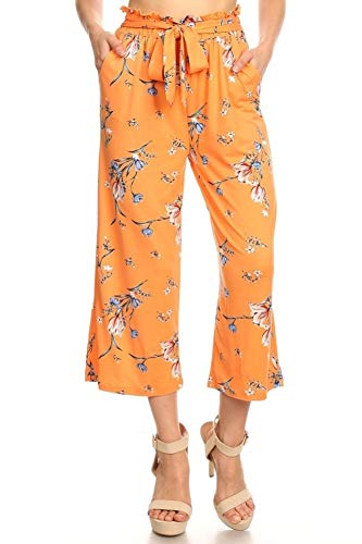 ShoSho Womens Paper Bag Waist Cropped Pants Casual Wide Leg with Pockets Floral Print Coral/Blue Large