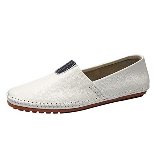(Bralonees Slipper Men Shoes Leather Loafers Slip On Handmade Flat Business Low Big Size Non-Slip Comfortable Casual)