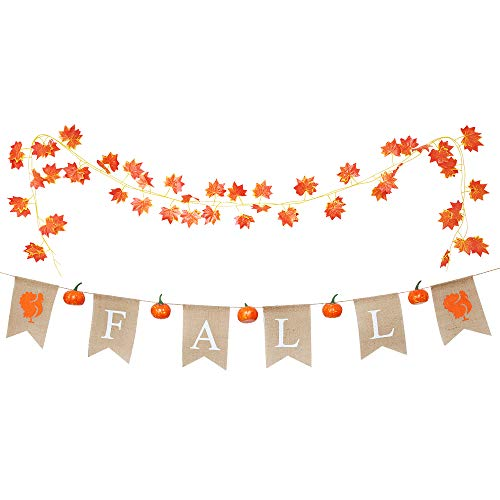 XiaZ Fall Banner with 7.6 feet Fake Fall Maple leaf Garland and Decorative Pumpkins - Assembled with Turkey Design, DIY Hanging Flag Banner for Fall Wedding Door Frame Doorway Backdrop Fireplace Halloween Harvest Time Thanksgiving Dinner Party Deco for $<!--$14.99-->