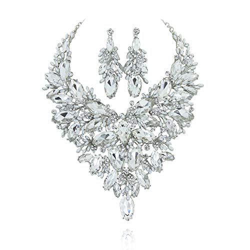 SP Sophia Collection Austrian Crystal Women's Peacock Flair Necklace and Earrings Jewelry Set in Silver ()