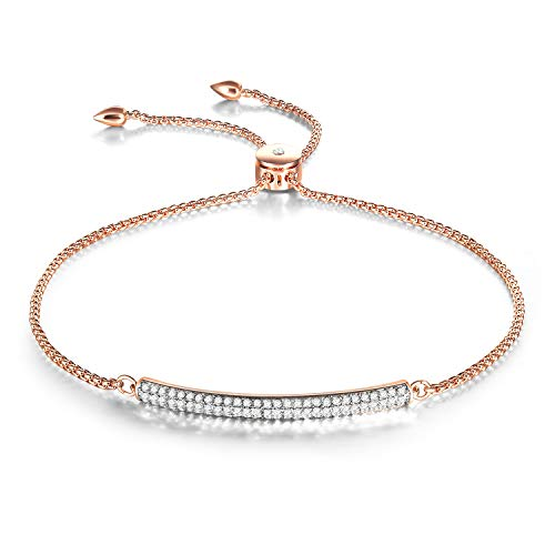 THEHORAE Slide Adjustable Bracelet White Rose Gold Plated Bar Shape Adjustable Charm Bracelet Jewelry for Women,Crystal from (Swarovski Gold Plated Charms)