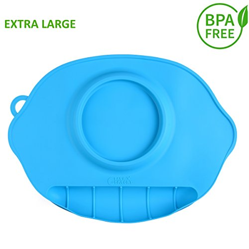 """One-Piece Silicone Large Feeding Placemat for Kids 17.5"""" x 11.5""""- Baby Feeding Mat-Designed to Catch Food and Prevent Messes"""