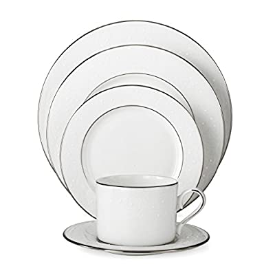 Lenox 585747-6381784 Floral Veil Bone China Platinum Banded Dinnerware Sets, White - 5-pice set includes dinner plate, salad or dessert plate, bread and butter plate, teacup, and saucer Diameter of dinner plate: 10-7/8-inch, salad plate: 6-3/5-inch, bread plate: 6-1/4-inch, saucer: 5-3/4-inch; height of cup: 2-3/8-inch, capacity: 8-ounce Crafted of Lenox ivory fine china - kitchen-tabletop, kitchen-dining-room, dinnerware-sets - 41zJ7DY1tdL. SS400  -