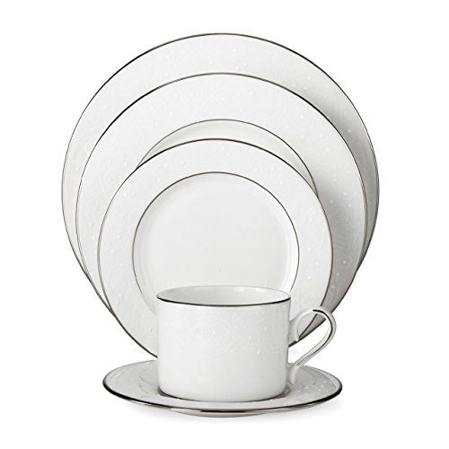 (Lenox 585747-6381784 Floral Veil Bone China Platinum Banded Dinnerware Sets, White)