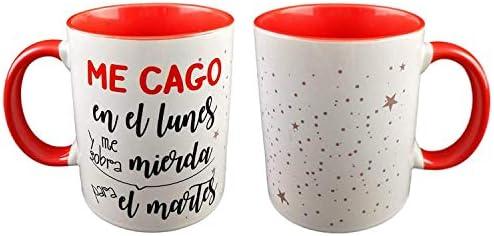 Pack Taza Ceramica Y Llavero Madera Frase ME CAGO EN EL Lunes Y ME SOBRA Mierda para EL Martes: Amazon.es: Hogar