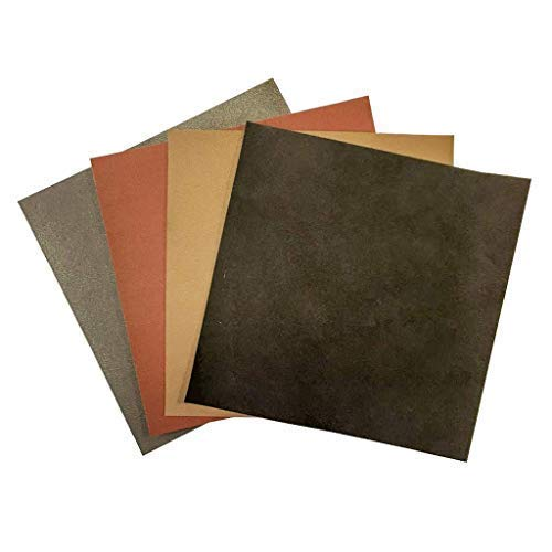Brown Leather Hide Leather Sheets: 4 Brown Scrap Leather Pieces Leather Sheets for Craft 5x5In/ 12x12cm by LeatherAA ITALIAN LEATHER COMPANY