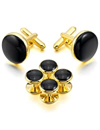 MOWOM Silver Gold Two Tone Black Rose Gold Rhodium Plated Enamel Cufflinks Stud Set Tuxedo