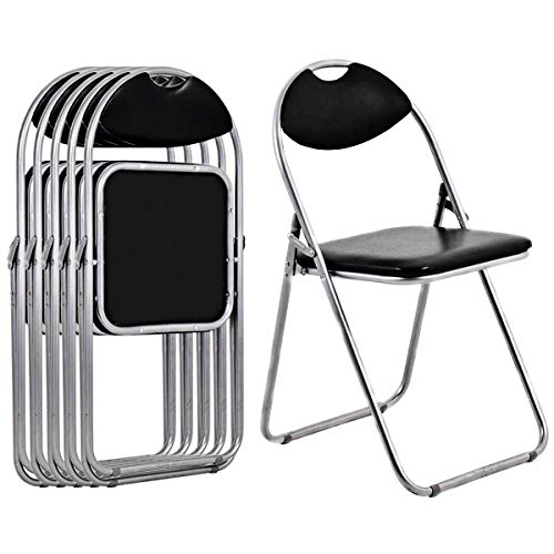 (Giantex 6 PCS Folding Chair with Carrying Handle PU Leather and Metal Frame Cushioned Foldable Conference Chairs Set for Home Office Waiting Room Guest Reception Party, Black )