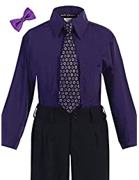 Bello Giovane Boys Purple Dress Shirt with Tie Set 2T-7 (Pick Free Bow Tie)