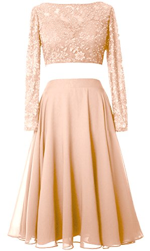 MACloth Elegant 2 Piece Long Sleeve Cocktail Dress Short Lace Prom Formal Gown Bellini