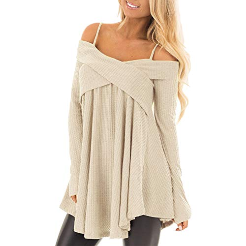 Sunhusing Ladies Sexy Strapless Spaghetti Sling Cross Neck Long Sleeve Off Shoulder Pleated Knitwear -
