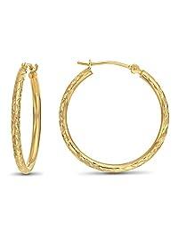 14k Gold X-pattern Diamond-cut Round Hoop Earrings, 1'' Diameter