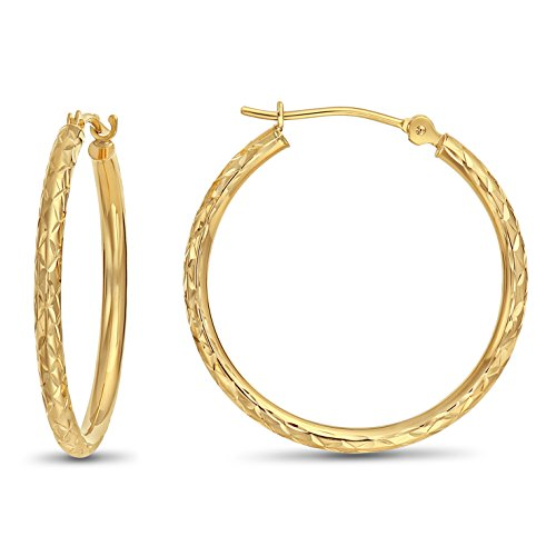 14k Gold X-pattern Diamond-cut Round Hoop Earrings, 1'' Diameter (yellow-gold)