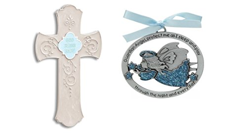 God Bless Baby Hanging Cross and Guardian Angel Crib Medal Gift Set for Boys~Baptism~Christening~Newborn