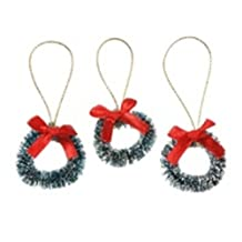 "Package of 12 Miniature 1-1/2"" Frosted Sisal Wreaths"